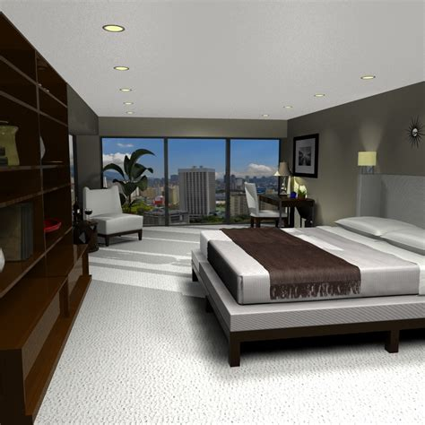 bed room seans contemporary bedroom bed table 3d model