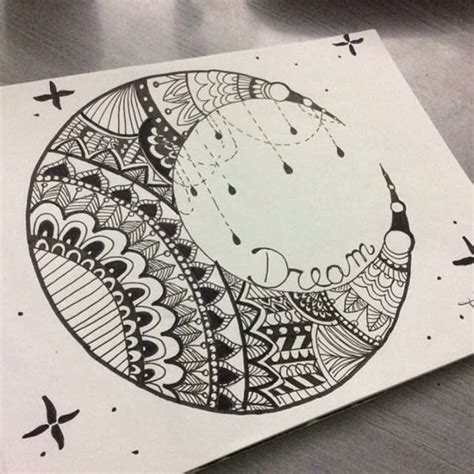 pattern moon drawing drawn lunar zentangle pencil and in color drawn lunar