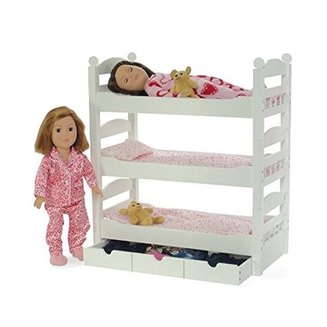 18 Inch Doll Bunk Bed With Trundle 18 Inch Doll White Detachable Trundle Bunk Bed Furniture Made To Fit Ebay