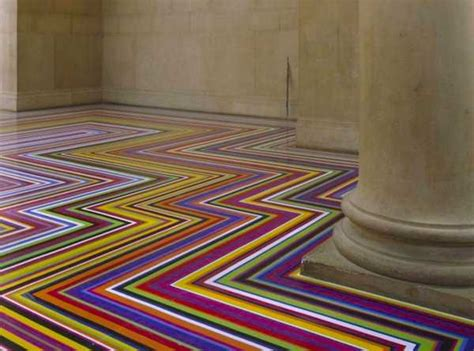 modern floor decoration  tape strips creating cool