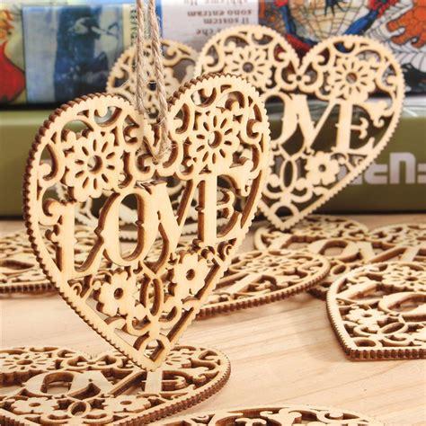 pcs heart love diy wood craft hanging decoration craft