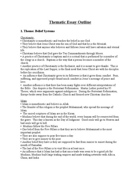 sle thematic essay on belief systems belief systems thematic essay exle docoments ojazlink