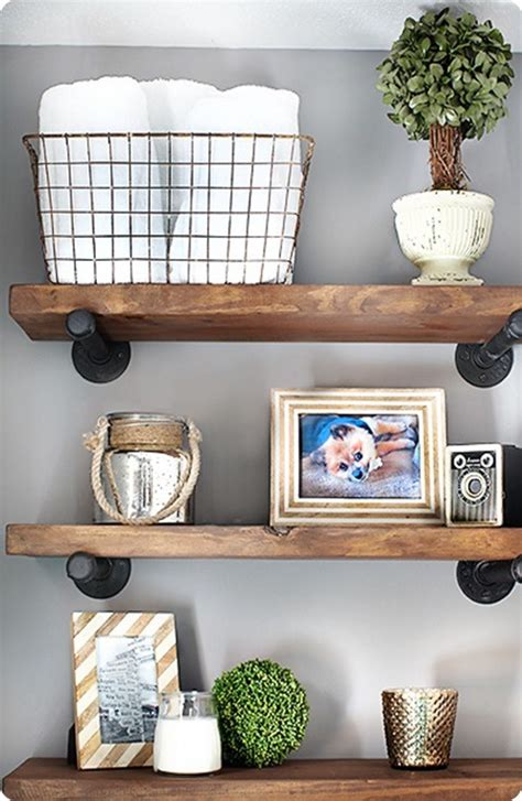 Bathroom Wall Shelves Wood Reclaimed Wood And Metal Wall Shelves