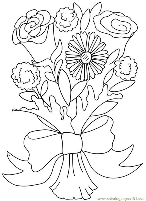 Bouquets Of Flowers And Coloring Pages Bouquet Roses Coloring Pages
