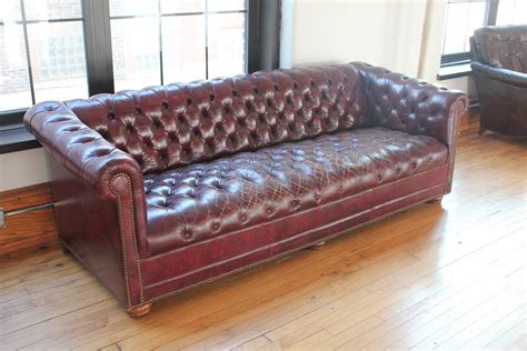 Vintage Distressed Burgundy Leather Chesterfield Sofa For Distressed Leather Chesterfield Sofa