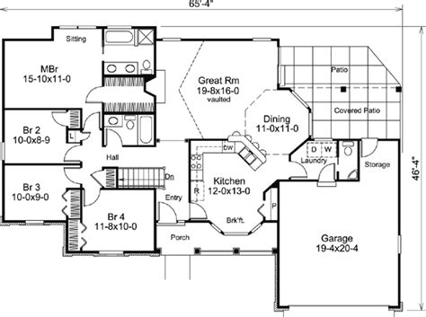ranch style bungalow floor plans house plan 87889 at familyhomeplans com