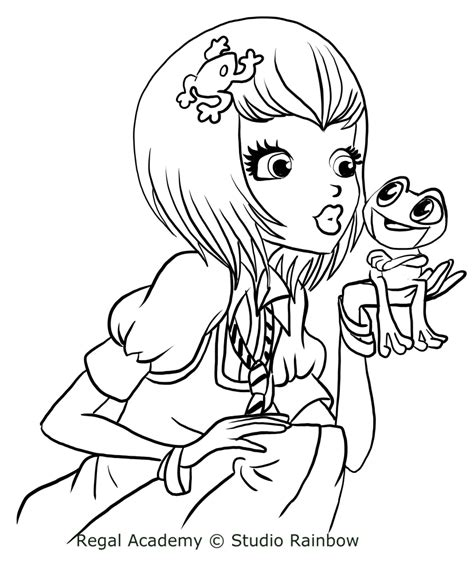 Joy Le Frog Of Regal Academy Coloring Pages Frog Prince Coloring Page