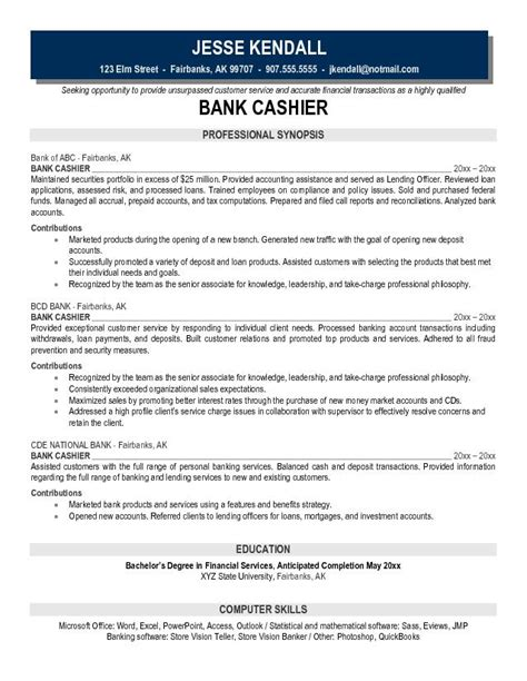 Resume For Cashier In Canada Exle Bank Cashier Resume Free Sle