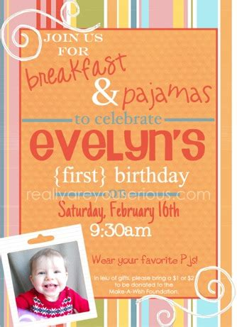 1st birthday invitation email sle breakfast and pajamas a birthday