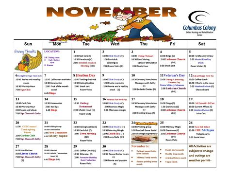 Kalender 2016 November November Calendar 2016 Columbus Colony