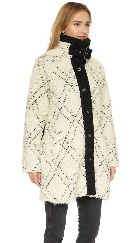 black and white coat pattern lyst free people high collar pattern coat in black