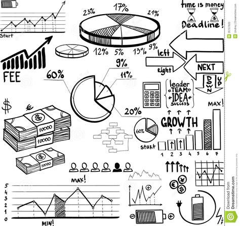 doodle element guide business finance doodle elements stock photo