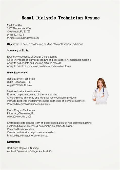 sample resume objective for dialysis nurse