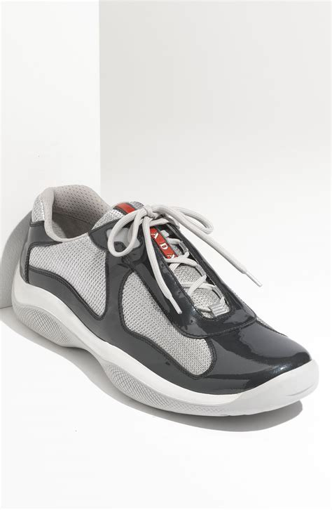 prada americas cup sneaker prada americas cup mesh leather sneaker in gray for