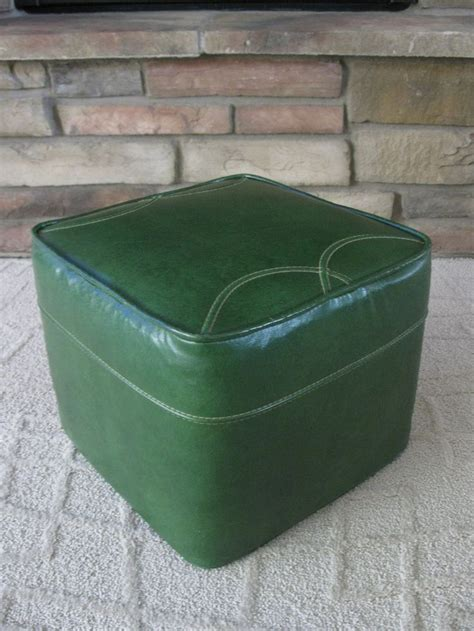 Leather Hassock Ottoman Mid Century Avocado Green Ottoman Footstool Hassock Faux Leather Square Green Vintage