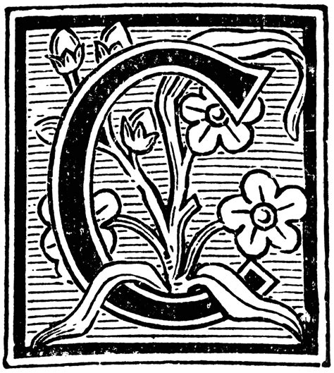 Decorative Letter C by Floral Decorative C Clipart Etc