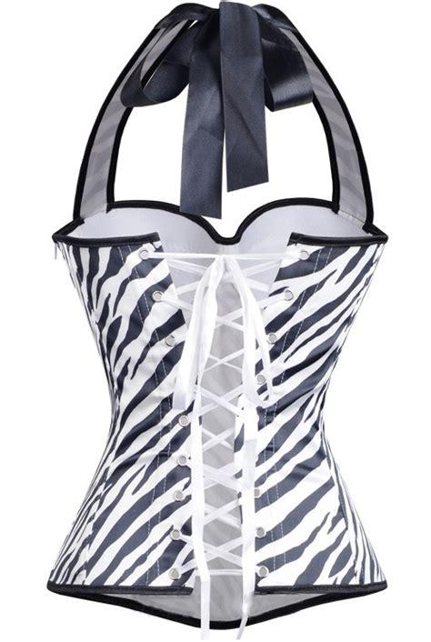 pink halter corset top lace flower print overbust corset vest corsets vangies closet halter zebra print corset n8085