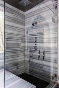 Shower with black and white stripe tiles contemporary