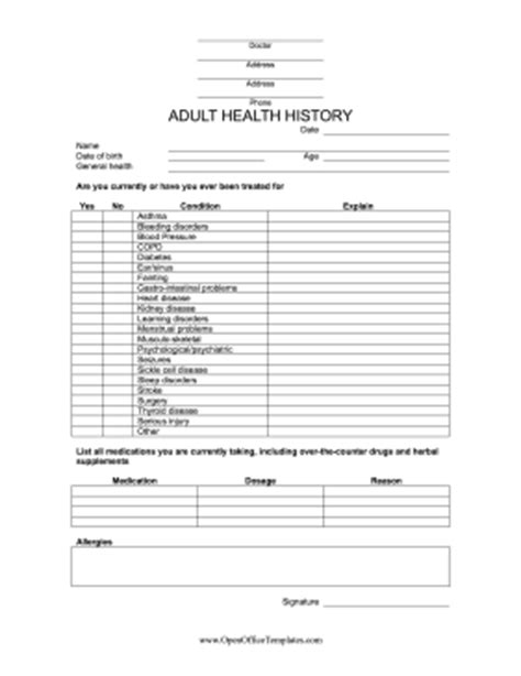 Medical History Form Openoffice Template Medication History Form Templates