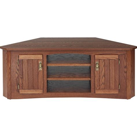 Oak Tv Cabinets by Solid Oak Mission Style Tv Stand W Cabinet 55 Quot The Oak