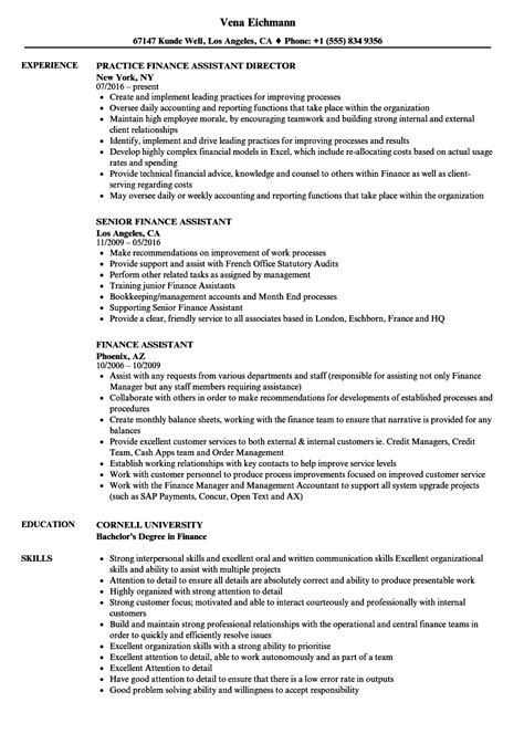 assistant finance manager resume format finance assistant resume sles velvet