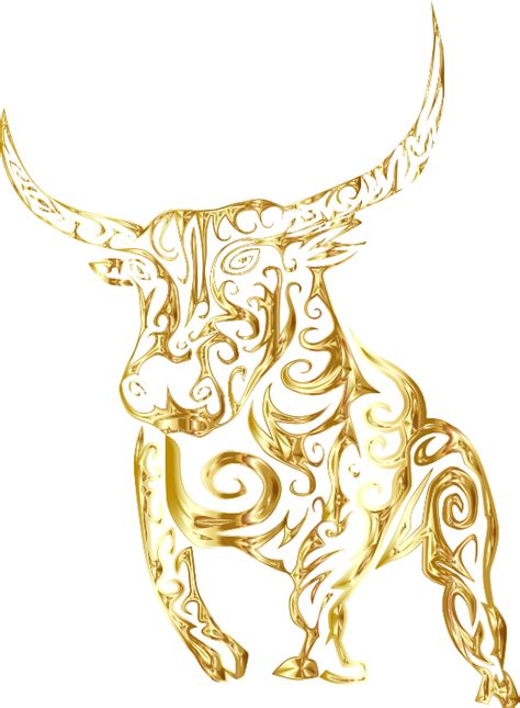 clipart tribal bull line art gold