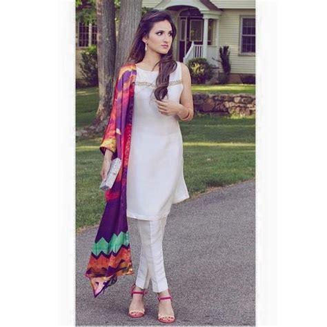 elegant white dress colorful dupatta order  inbox