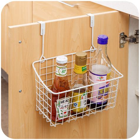 Kitchen Cabinet Door Storage Racks Creative Metal Door Storage Basket Practical Kitchen Cabinet Drawer Organizer Door Hanger