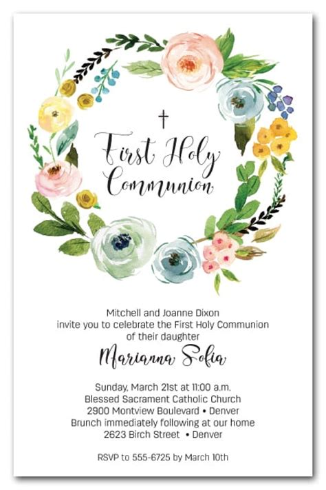 spring start spring wreath first holy communion invitations