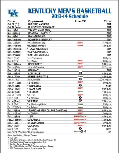 uk basketball schedule full kentucky wildcats basketball full 2013 14 schedule