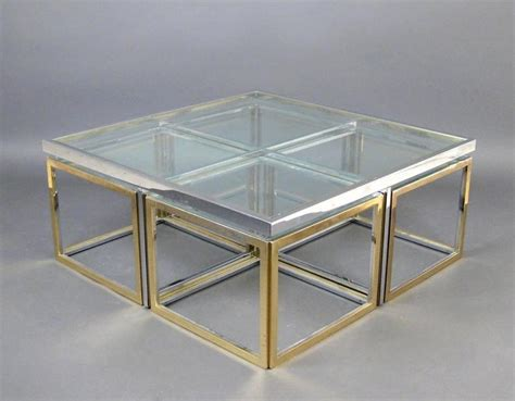 Glass Metal Coffee Table Large Glass And Metal Coffee Table Attributed To Maison Charles For Sale At 1stdibs
