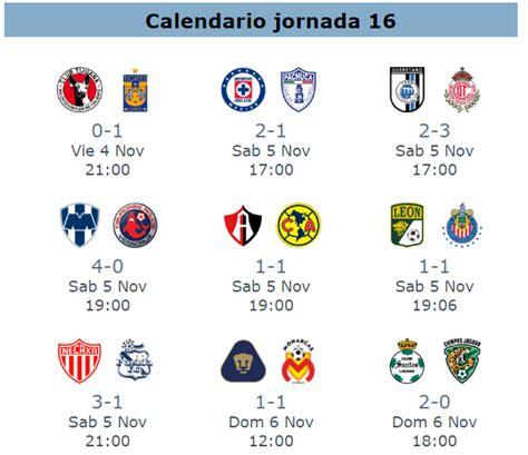 calendario jornada 12 del futbol mexicano apertura 2016 tramision de partidos jornada 17 del futbol mexicano