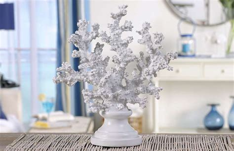 new white coral pedestal shelf decoration coastal home