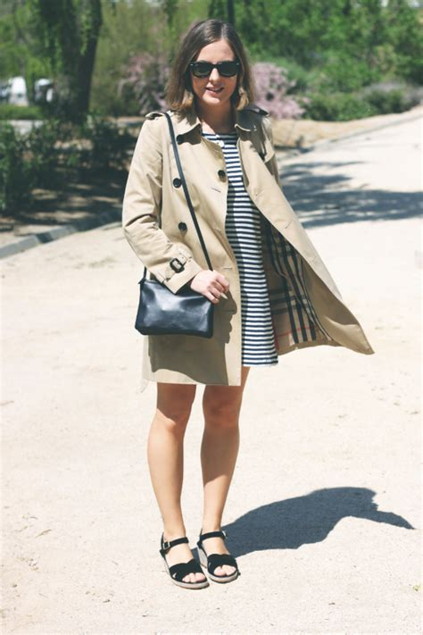c style apc striped dress and burberry trench trini