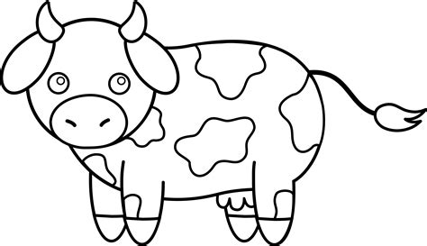 Cow Drawing Outline by Colorable Cow Free Clip