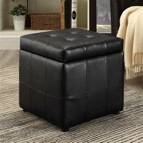 black ottoman storage shop modway volt black square storage ottoman at lowes com