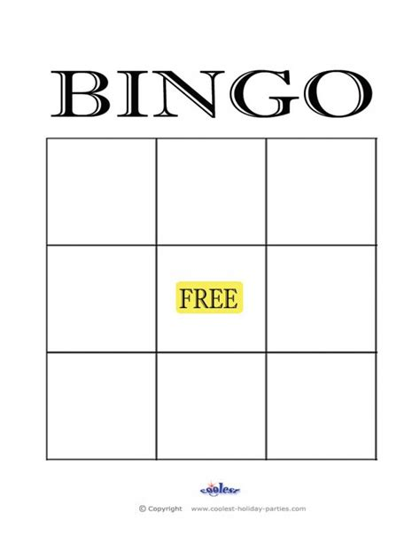 bingo standard card template empty bingo card template business
