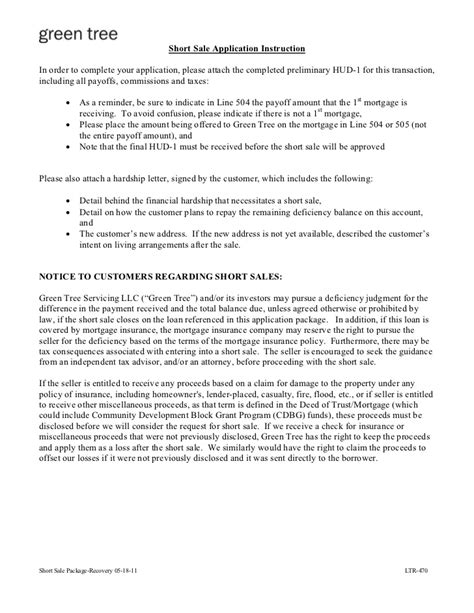 Mortgage Letter Of Intent Sle greentree sale package