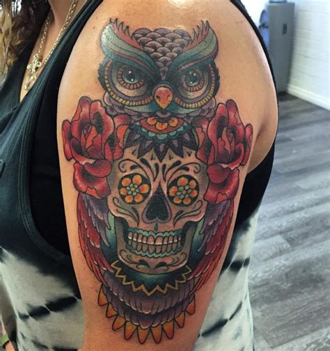 owl sugar skull tattoo owl skeleton