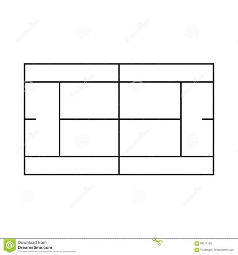 tennis court template tennis court icon outline style stock vector