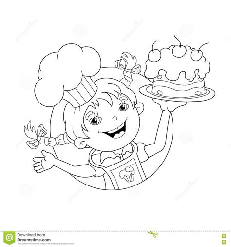 girl chef coloring page coloring page outline of cartoon girl chef with cake stock