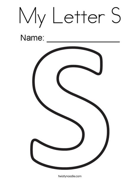 My Letter S Coloring Page Twisty Noodle S Colouring Pages