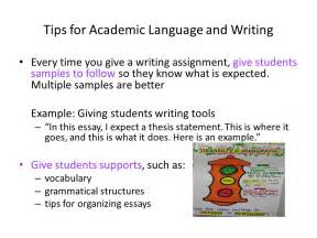 Academic Essay Writing Tips by Academic Language For Language Learners Ppt