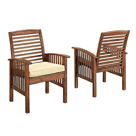 White Outdoor Dining Chair Walker Edison Furniture Company Boardwalk Brown Acacia Outdoor Dining Chairs With White