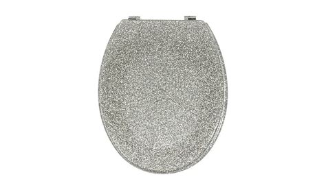 silver sparkle glitter toilet seat lid resin bathroom