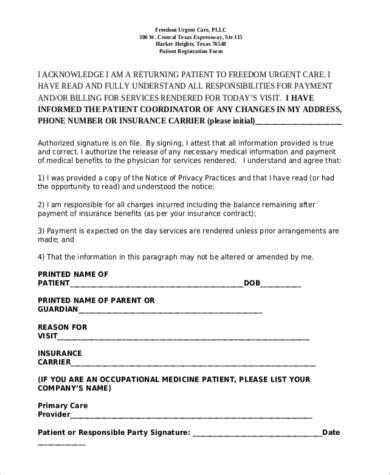 sample patient registration form printable medical forms letters