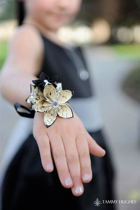 Handmade Wrist Corsage - origami paper flower wrist wrapped corsage handmade