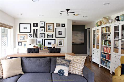 family room  photo gallery wall gray sectional ikea