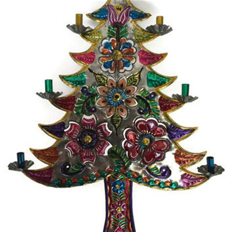 mexican tin art christmas tree tin art from