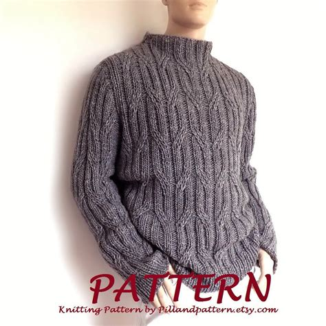pattern cable knit sweater men sweater cable knit pullover knitting pattern pdf pattern